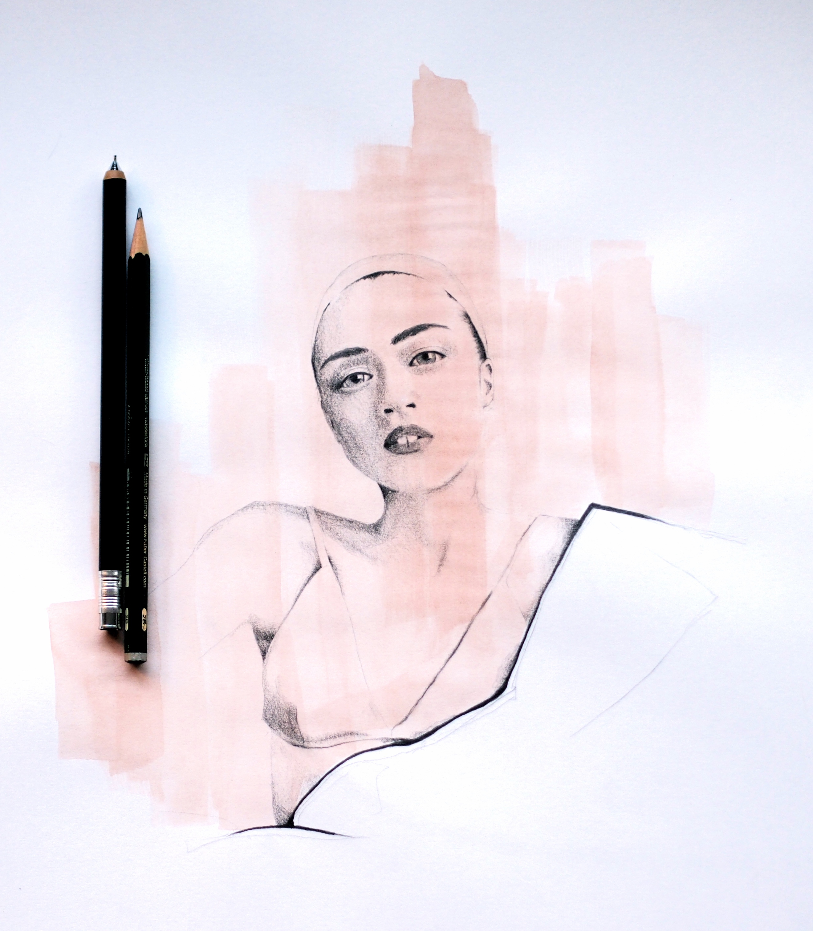 PENCIL SKETCH AND WATERCOLOUR FASHION ILLUSTRATION
